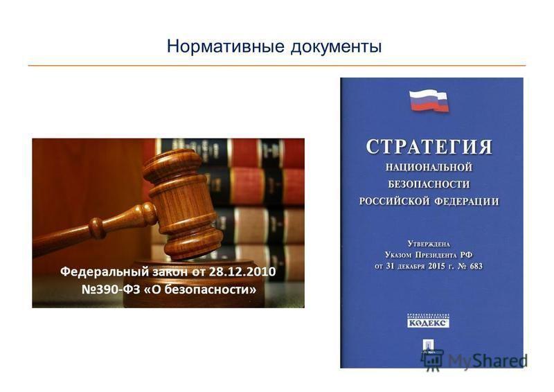 Нормативные документы Федеральный закон от 28.12.2010 390-ФЗ «О безопасности»