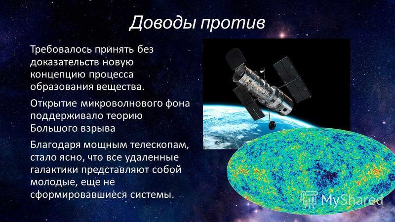 Доводы против Требовалось принять без доказательств новую концепцию процесса образования вещества. Открытие микроволнового фона поддерживало теорию Большого взрыва Благодаря мощным телескопам, стало ясно, что все удаленные галактики представляют собо