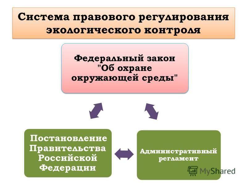 Система правового регулирования экологического контроля Федеральный закон Об охране окружающей среды Административный регламент Постановление Правительства Российской Федерации