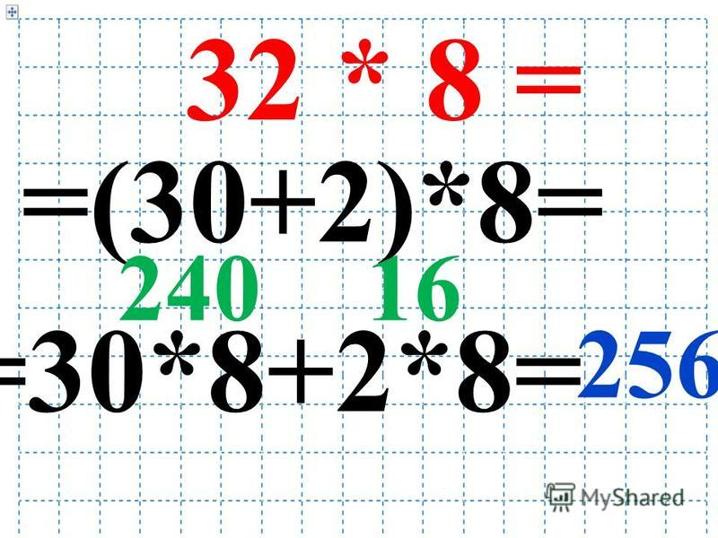 32 * 8 = =(30+2)*8= =30*8+2*8= 24016 256