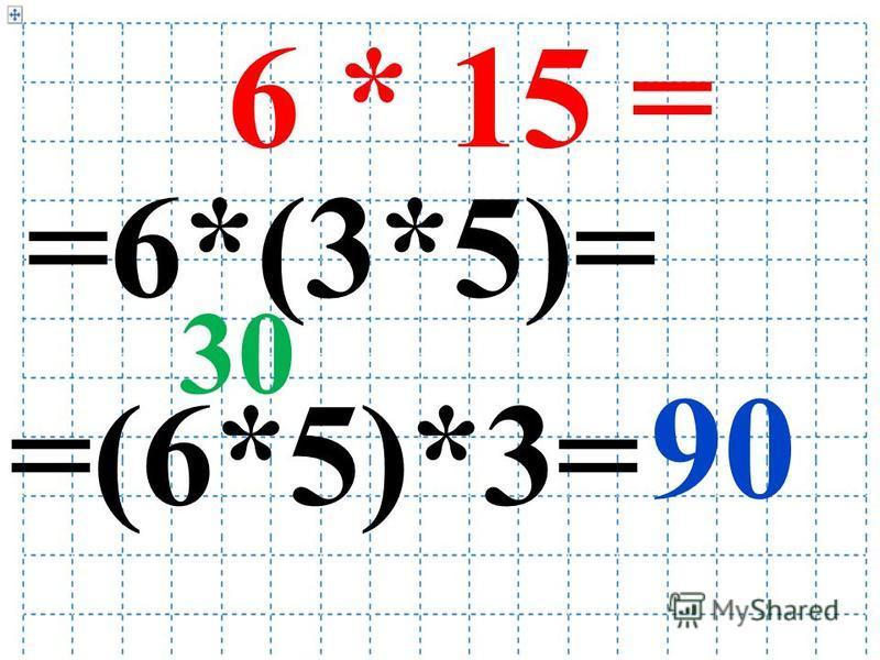 6 * 15 = =6*(3*5)= =(6*5)*3= 30 90
