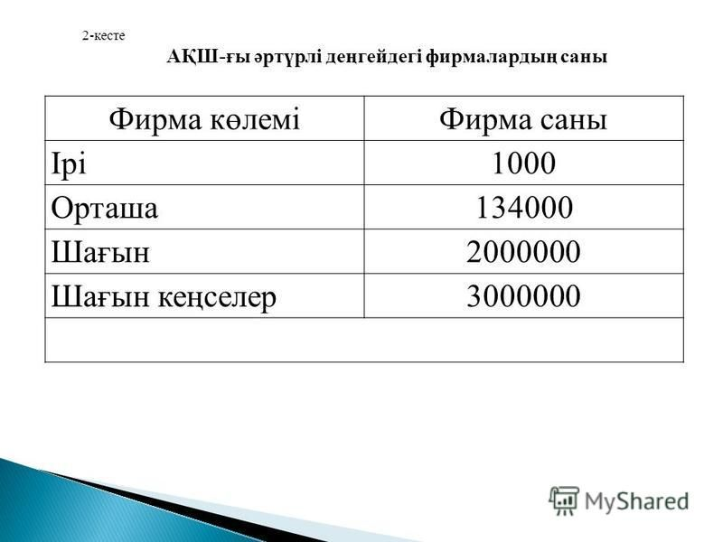 Фирма көлеміФирма саны Ірі1000 Орташа 134000 Шағын 2000000 Шағын кеңселер 3000000 2-кесте АҚШ-ғы әртүрлі деңгейдегі фирмалардың саны