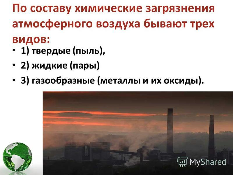 По составу химические загрязнения атмосферного воздуха бывают трех видов: 1) твердые (пыль), 2) жидкие (пары) 3) газообразные (металлы и их оксиды).