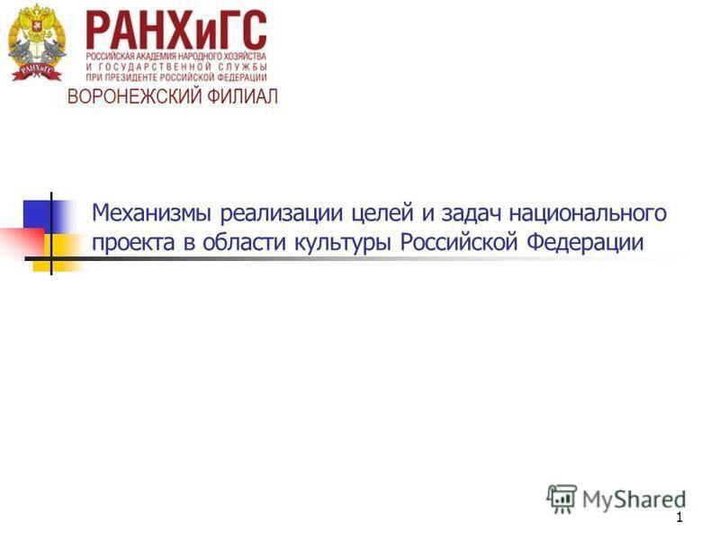 1 Механизмы реализации целей и задач национального проекта в области культуры Российской Федерации
