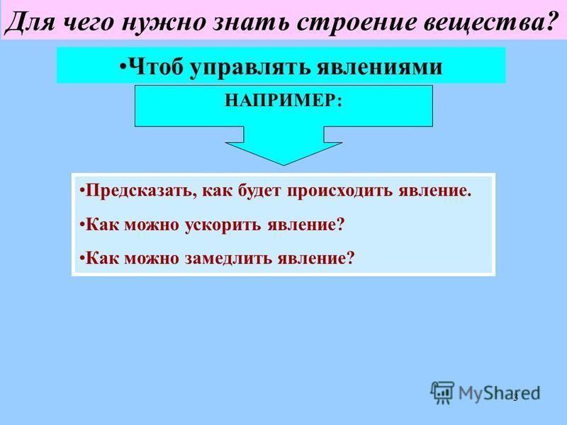 3 Для чего нужно знать строение вещества? Чтоб управлять явлениями НАПРИМЕР: Предсказать, как будет происходить явление. Как можно ускорить явление? Как можно замедлить явление?