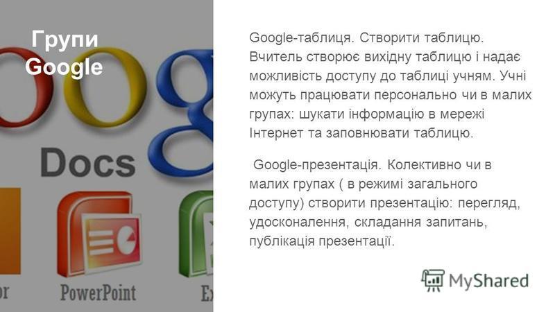 Групи Google Google-таблиця. Створити таблицю. Вчитель створює вихідну таблицю і надає можливість доступу до таблиці учням. Учні можуть працювати персонально чи в малих групах: шукати інформацію в мережі Інтернет та заповнювати таблицю. Google-презен