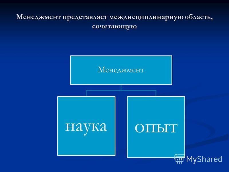 Менеджмент представляет междисциплинарную область, сочетающую Менеджмент наука опыт