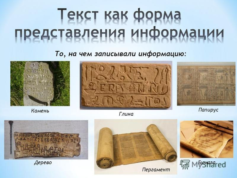 То, на чем записывали информацию: Камень Глина Бумага Дерево Папирус Пергамент