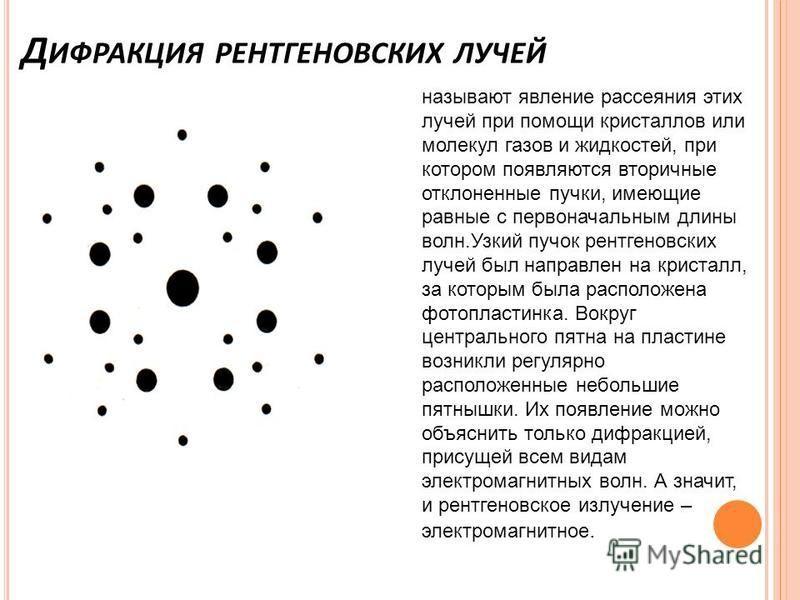 Д ИФРАКЦИЯ РЕНТГЕНОВСКИХ ЛУЧЕЙ называют явление рассеяния этих лучей при помощи кристаллов или молекул газов и жидкостей, при котором появляются вторичные отклоненные пучки, имеющие равные с первоначальным длины волн.Узкий пучок рентгеновских лучей б