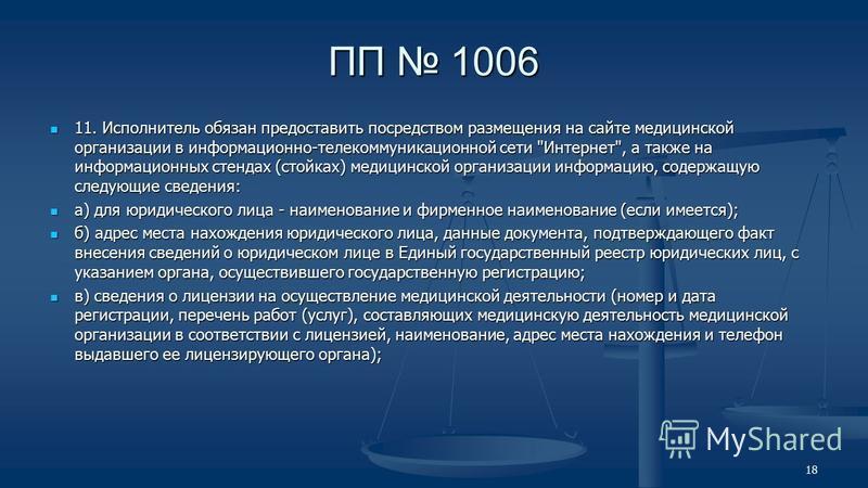 ПП 1006 11. Исполнитель обязан предоставить посредством размещения на сайте медицинской организации в информационно-телекоммуникационной сети