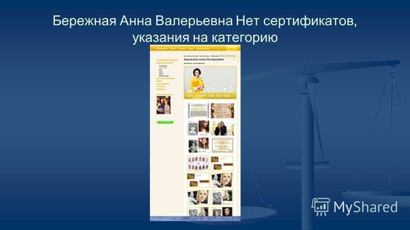 Бережная Анна Валерьевна Нет сертификатов, указания на категорию