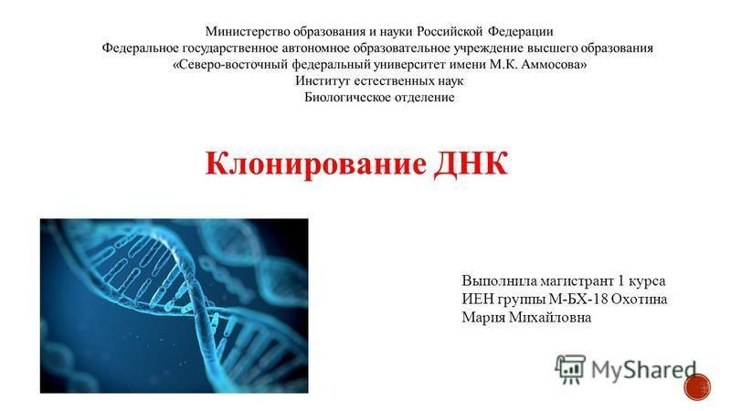 Выполнила магистрант 1 курса ИЕН группы М-БХ-18 Охотина Мария Михайловна Клонирование ДНК