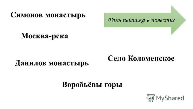 Симонов монастырь Москва-река Данилов монастырь Воробьёвы горы Село Коломенское Роль пейзажа в повести?