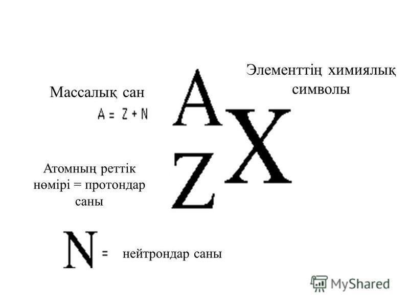 Массалық сан Элементтің химиялық символы Атомның реттік нөмірі = протондар саны нейтрондар саны