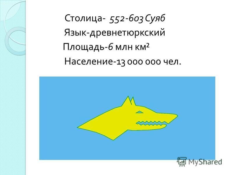 Столица - 552-603 Суяб Язык - древнетюркский Площадь -6 млн км ² Население -13 000 000 чел.