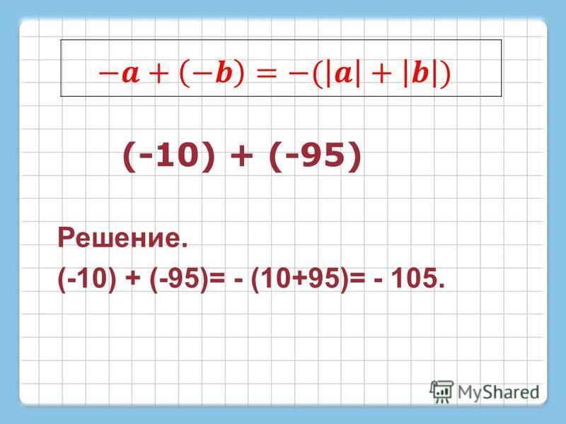 (-10) + (-95) Решение. (-10) + (-95)= - (10+95)= - 105.