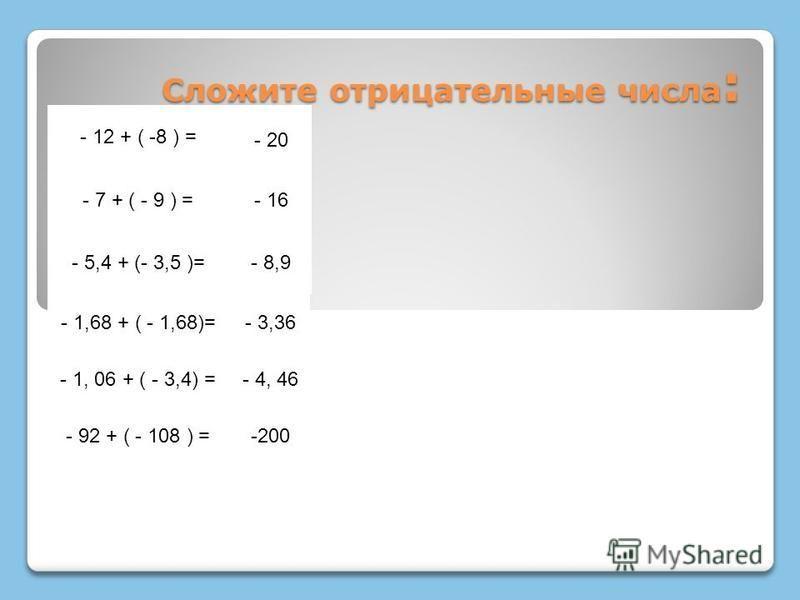 Сложите отрицательные числа : - 12 + ( -8 ) = - 20 - 7 + ( - 9 ) =- 16 - 5,4 + (- 3,5 )=- 8,9 - 1,68 + ( - 1,68)=- 3,36 - 1, 06 + ( - 3,4) =- 4, 46 - 92 + ( - 108 ) =-200