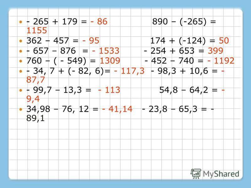 - 265 + 179 = - 86 890 – (-265) = 1155 362 – 457 = - 95 174 + (-124) = 50 - 657 – 876 = - 1533 - 254 + 653 = 399 760 – ( - 549) = 1309 - 452 – 740 = - 1192 - 34, 7 + (- 82, 6)= - 117,3 - 98,3 + 10,6 = - 87,7 - 99,7 – 13,3 = - 113 54,8 – 64,2 = - 9,4