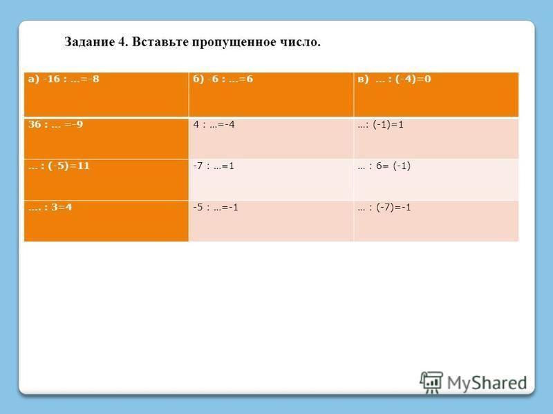 Задание 4. Вставьте пропущенное число. а) -16 : …=-8 б) -6 : …=6 в) … : (-4)=0 36 : … =-94 : …=-4…: (-1)=1 … : (-5)=11-7 : …=1… : 6= (-1) …. : 3=4-5 : …=-1… : (-7)=-1