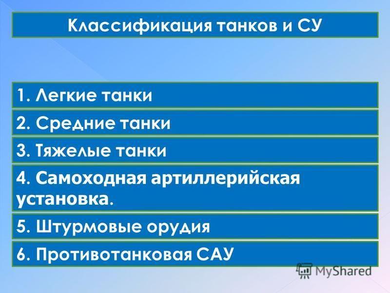 Классификация танков и СУ 1. Легкие танки 2. Средние танки 3. Тяжелые танки 4. Самоходная артиллерийская установка. 5. Штурмовые орудия 6. Противотанковая САУ