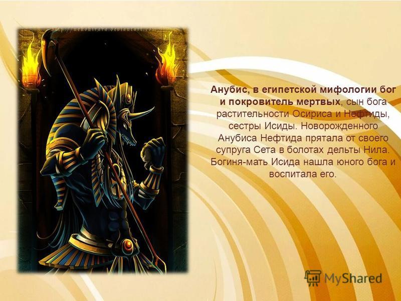Анубис, в египетской мифологии бог и покровитель мертвых, сын бога растительности Осириса и Нефтиды, сестры Исиды. Новорожденного Анубиса Нефтида прятала от своего супруга Сета в болотах дельты Нила. Богиня-мать Исида нашла юного бога и воспитала его