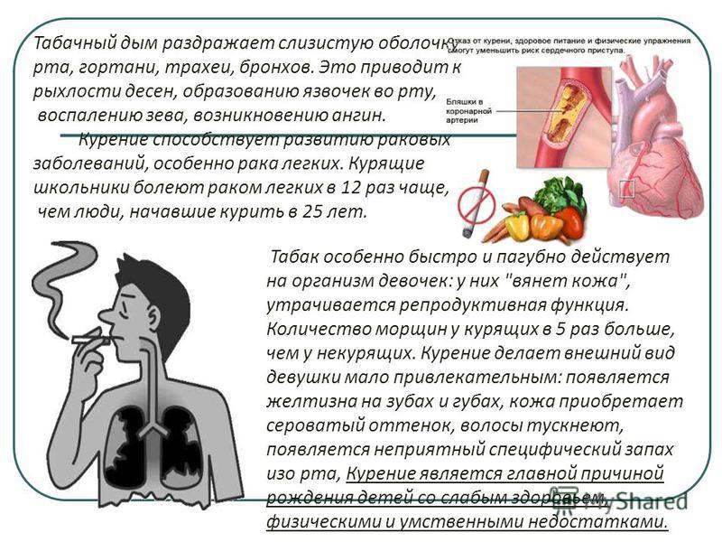 Табачный дым раздражает слизистую оболочку рта, гортани, трахеи, бронхов. Это приводит к рыхлости десен, образованию язвочек во рту, воспалению зева, возникновению ангин. Курение способствует развитию раковых заболеваний, особенно рака легких. Курящи