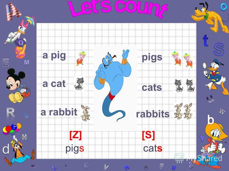 a pig a cat a rabbit pigs cats rabbits [Z] [S] pigscats