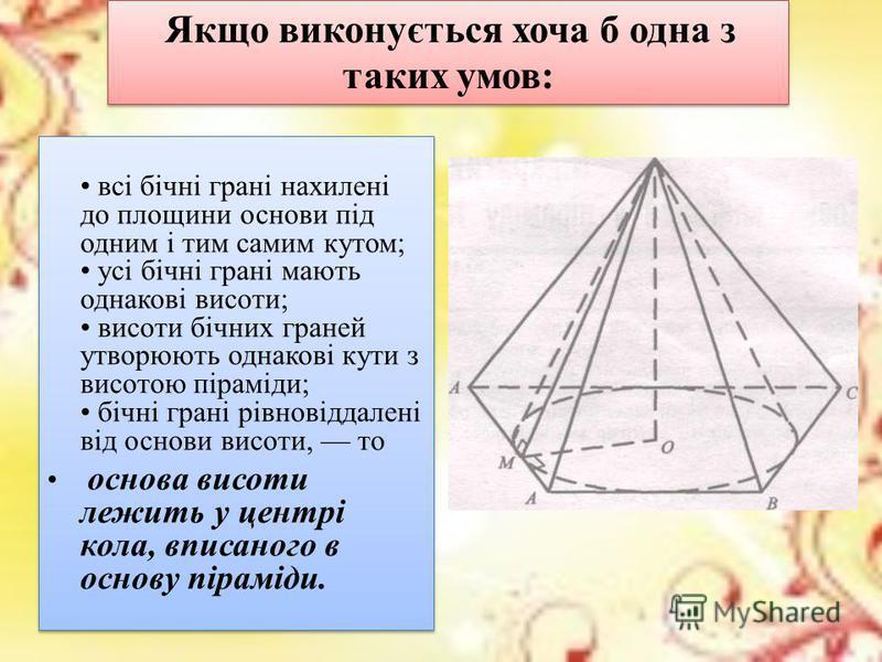 Правильна піраміда Піраміда називається правильною, якщо її основою є правильний многокутник, а основа висоти збігається з центром цього многокутника Віссю правильної піраміди називається пряма, яка містить її висоту У правильній піраміді всі бічні р