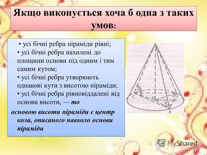 всі бічні грані нахилені до площини основи під одним і тим самим кутом; усі бічні грані мають однакові висоти; висоти бічних граней утворюють однакові кути з висотою піраміди; бічні грані рівновіддалені від основи висоти, то основа висоти лежить у це