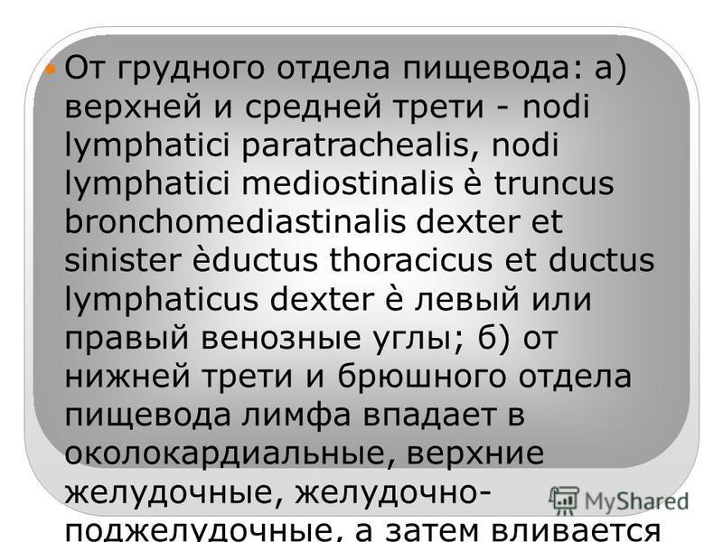 От грудного отдела пищевода: а) верхней и средней трети - nodi lymphatici paratrachealis, nodi lymphatici mediostinalis è truncus bronchomediastinalis dexter et sinister èductus thoracicus et ductus lymphaticus dexter è левый или правый венозные углы