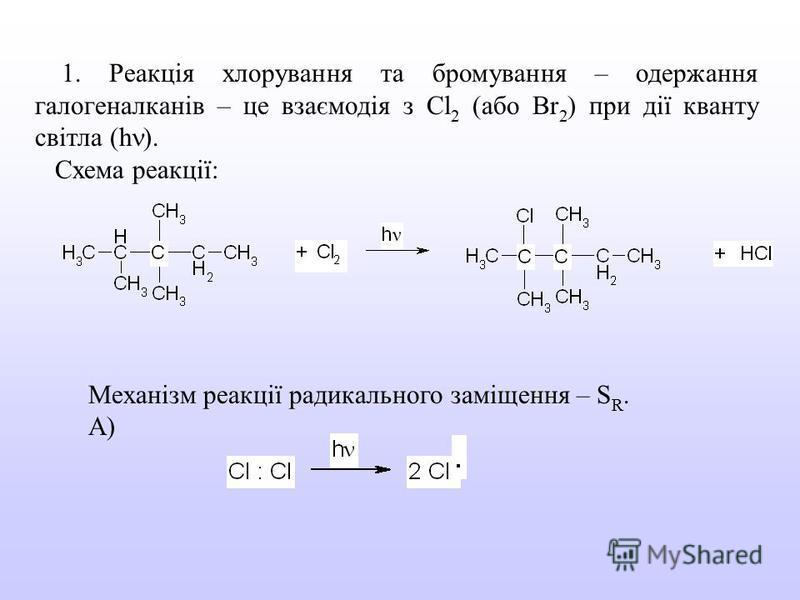 1. Реакція хлорування та бромування – одержання галогеналканів – це взаємодія з Cl 2 (або Br 2 ) при дії кванту світла (h ). Схема реакції: Механізм реакції радикального заміщення – S R. А)