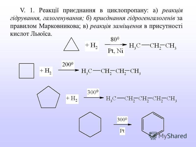 V. 1. Реакції приєднання в циклопропану: а) реакція гідрування, галогенування; б) приєднання гідрогенгалогенів за правилом Марковникова; в) реакція заміщення в присутності кислот Льюїса.
