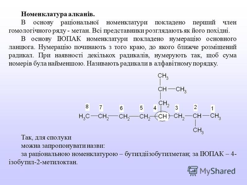 Номенклатура алканів. В основу раціональної номенклатури покладено перший член гомологічного ряду - метан. Всі представники розглядають як його похідні. В основу ІЮПАК номенклатури покладено нумерацію основного ланцюга. Нумерацію починають з того кра