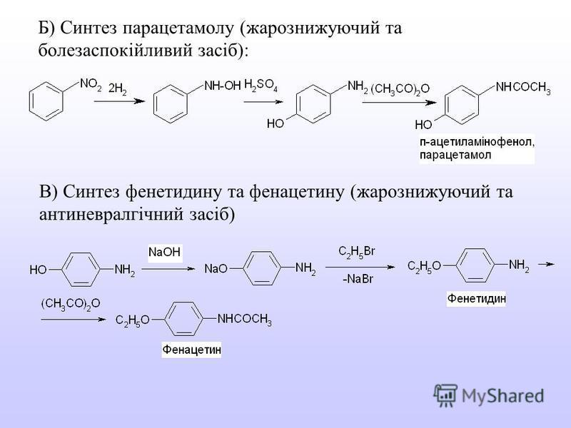 Б) Синтез парацетамолу (жарознижуючий та болезаспокійливий засіб): В) Синтез фенетидину та фенацетину (жарознижуючий та антиневралгічний засіб)
