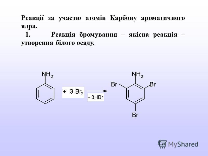 Реакції за участю атомів Карбону ароматичного ядра. 1. Реакція бромування – якісна реакція – утворення білого осаду. NH 2 NH 2 Br + 3 Br 2 - 3HBr