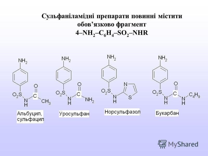Сульфаніламідні препарати повинні містити обовязково фрагмент 4–NH 2 –C 6 H 4 –SO 2 –NHR