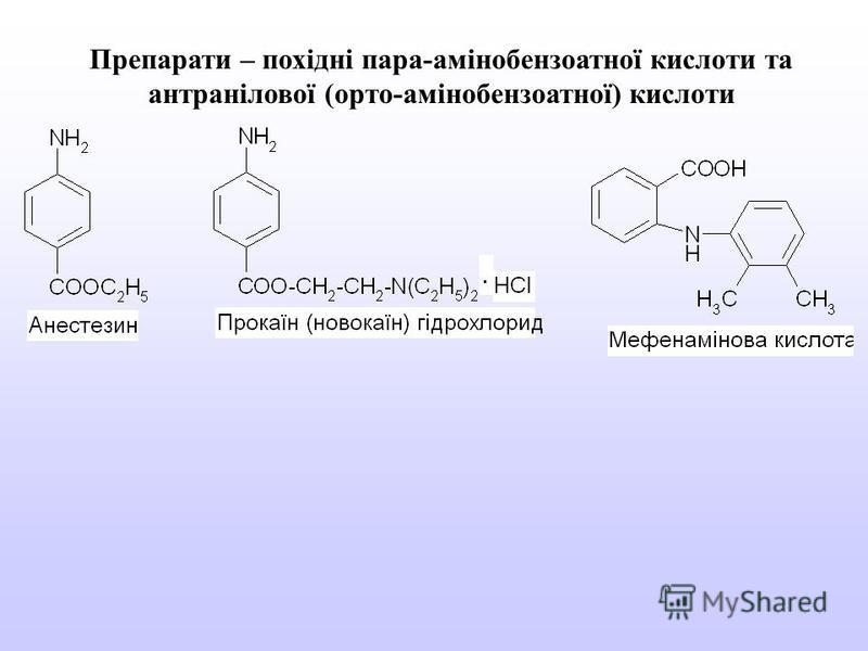 Препарати – похідні пара-амінобензоатної кислоти та антранілової (орто-амінобензоатної) кислоти