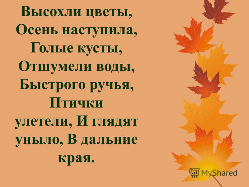 Высохли цветы, Осень наступила, Голые кусты, Отшумели воды, Быстрого ручья, Птички улетели, И глядят уныло, В дальние края.