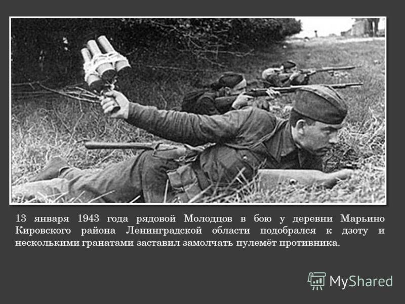 13 января 1943 года рядовой Молодцов в бою у деревни Марьино Кировского района Ленинградской области подобрался к дзоту и несколькими гранатами заставил замолчать пулемёт противника.