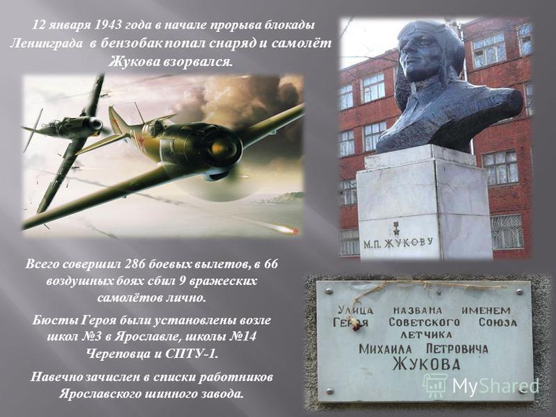 12 января 1943 года в начале прорыва блокады Ленинграда в бензобак попал снаряд и самолёт Жукова взорвался. Всего совершил 286 боевых вылетов, в 66 воздушных боях сбил 9 вражеских самолётов лично. Бюсты Героя были установлены возле школ 3 в Ярославле