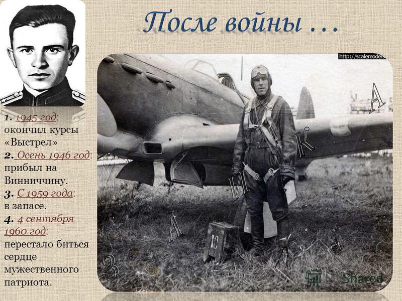 1. 1945 год: окончил курсы «Выстрел» 2. Осень 1946 год: прибыл на Винниччину. 3. С 1959 года: в запасе. 4. 4 сентября 1960 год: перестало биться сердце мужественного патриота.