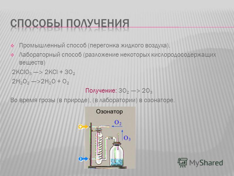 Промышленный способ (перегонка жидкого воздуха). Лабораторный способ (разложение некоторых кислородосодержащих веществ) 2KClO> 2KCl + 3O 2H O> 2H O + O Получение: 3O > 2O Во время грозы (в природе), (в лаборатории) в озонаторе.