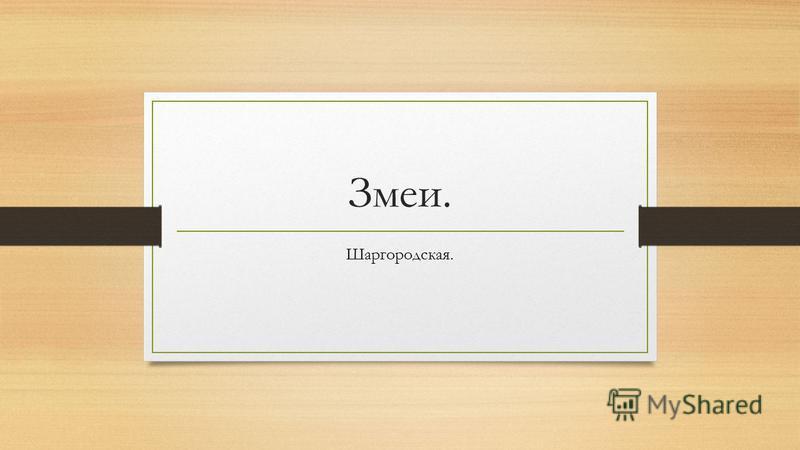 Змеи. Шаргородская.