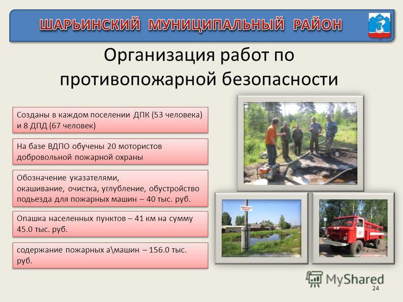 Организация работ по противопожарной безопасности 24 Созданы в каждом поселении ДПК (53 человека) и 8 ДПД (67 человек) Обозначение указателями, окрашивание, очистка, углубление, обустройство подъезда для пожарных машин – 40 тыс. руб. Обозначение указ