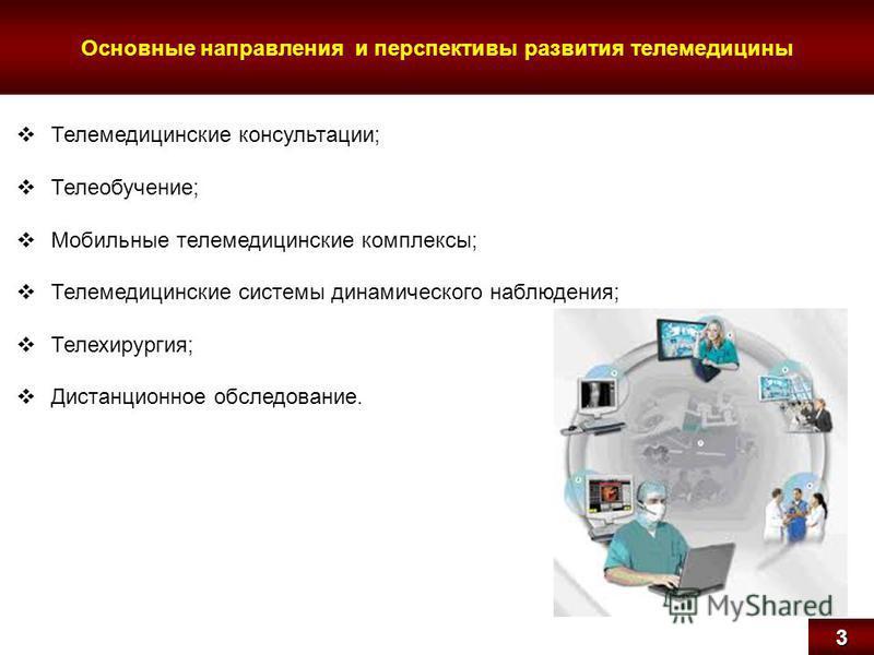 Основные направления и перспективы развития телемедицины 3 Телемедицинские консультации; Телеобучение; Мобильные телемедицинские комплексы; Телемедицинские системы динамического наблюдения; Телехирургия; Дистанционное обследование.