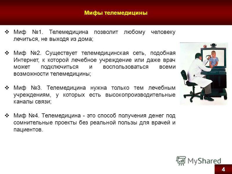 Мифы телемедицины 4 Миф 1. Телемедицина позволит любому человеку лечиться, не выходя из дома; Миф 2. Существует телемедицинская сеть, подобная Интернет, к которой лечебное учреждение или даже врач может подключиться и воспользоваться всеми возможност