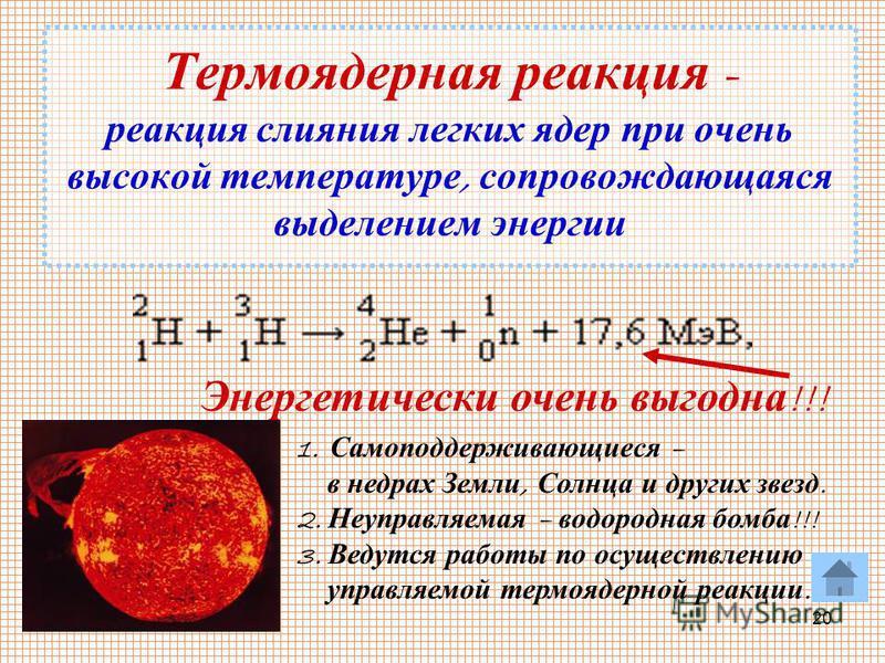 20 Термоядерная реакция - реакция слияния легких ядер при очень высокой температуре, сопровождающаяся выделением энергии Энергетически очень выгодна !!! 1. С самоподдерживающиеся – в недрах З емли, С олнца и других звезд. 2. Н еуправляемая – водородн