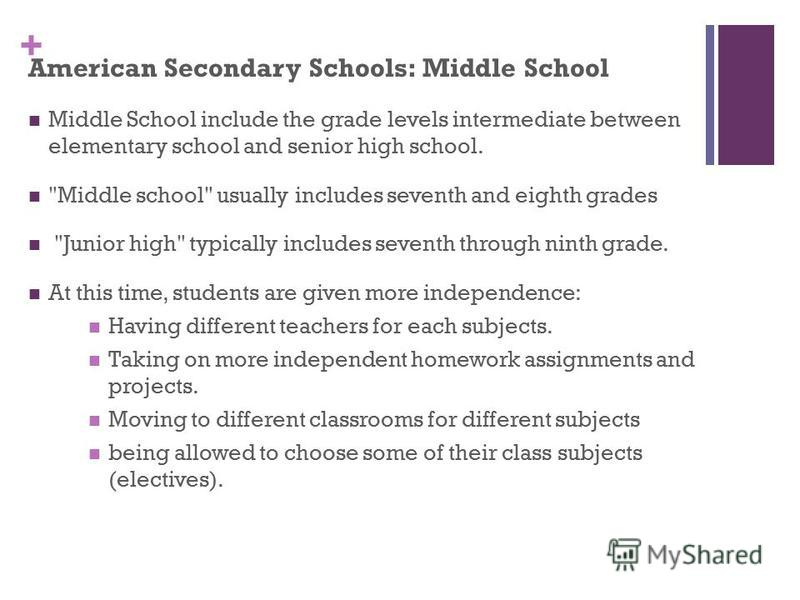 + American Secondary Schools: Middle School Middle School include the grade levels intermediate between elementary school and senior high school.