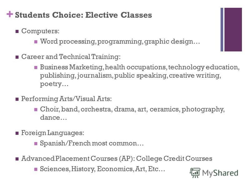 + Students Choice: Elective Classes Computers: Word processing, programming, graphic design… Career and Technical Training: Business Marketing, health occupations, technology education, publishing, journalism, public speaking, creative writing, poetr