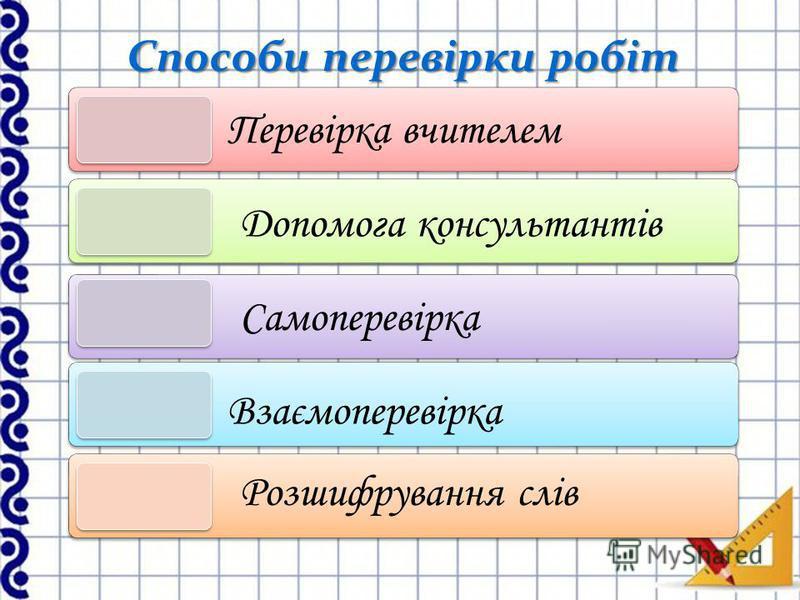 Способи перевірки робіт Перевірка вчителем Допомога консультантів Самоперевірка Взаємоперевірка Розшифрування слів